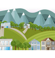 mountains village houses background vector image vector image