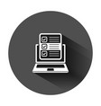 questionnaire laptop icon in flat style online vector image vector image