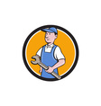 Repairman Holding Spanner Circle Cartoon vector image vector image