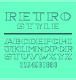 retro minimal font set latin letters and numbers vector image