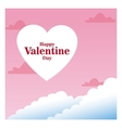 romantic card happy valentine day pink sky and vector image