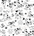 Seamless pattern with dog doing yoga position of vector image vector image