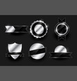set shiny silver labels and badges design vector image vector image
