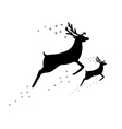 silhouette of a reindeer with a cub vector image vector image