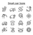 smart car icon set in thin line style vector image
