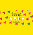 summer sale watermelon banner on yellow background vector image vector image