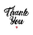 Thank you hand written calligraphy with heart vector image vector image