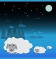 three white sheep are sleeping in the meadow at vector image