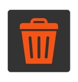 Trash Can flat orange and gray colors rounded vector image