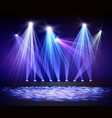 Various stage lights in the dark Spotlight on vector image vector image