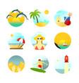 various summertime travel scenery set vector image