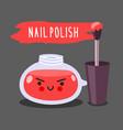 warlike red nail polish with brush vector image