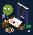 good night isometric composition vector image