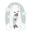 llustration with cute cartoon bear vector image