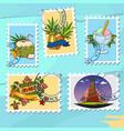 a set of for design summer bar postage stamps vector image