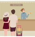 hotel reception girl couple travel check-in front vector image