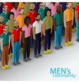3d isometric of male community with a large group vector image vector image
