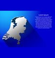 abstract map of netherlands with long shadow on vector image