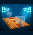 an of hardwood perspective basketball arena field vector image vector image