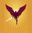 archangel michael flying silhouette vector image vector image