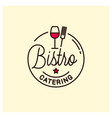 bistro catering logo round linear with wine glass vector image