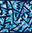 blue tribal seamless pattern vector image