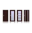 brown wooden doors set of interior designs vector image vector image