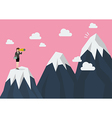Business woman looking for mountain peak vector image vector image