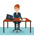 businessman work sitting office desktop design vector image