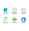 collection of health logo vector image vector image