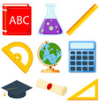 colorful cartoon school set 9 elements vector image