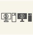 computer and cryptocurrency line and glyph icon vector image vector image