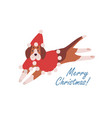 cute dog in red cape and santa hat cartoon vector image