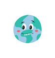 cute frightened or surprised earth planet vector image vector image