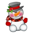 Cute snowman sits isolated character vector image vector image