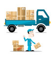 delivery man with boxes on car flat design vector image vector image