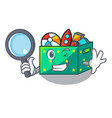 detective cartoon toy boxes in a bedroom vector image