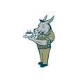 Donkey Sergeant Army Standing Drinking Coffee vector image