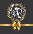 enjoy winter time inscription written in frame vector image vector image