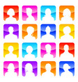 flat colored avatars with shiny background vector image