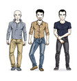 happy men group standing wearing fashionable vector image vector image