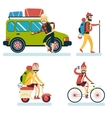 Happy Smiling Man Geek Hipster Character with Car vector image vector image