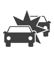 icon crash two cars on white background vector image