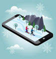 isometric man and woman skiing cross country vector image