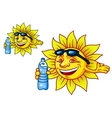 Laughing tropical sun with bottled water vector image vector image