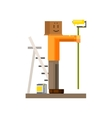 Man Painting The Wall With Box On his Head vector image