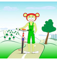 monkey with a bicycle vector image vector image
