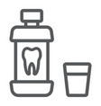mouthwash bottle line icon stomatology vector image