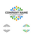 natural green tree logo with ecology leaf concept vector image vector image
