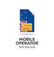 new zealand mobile operator sim card with flag vector image